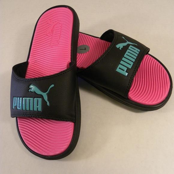 c46f54f9b3b7 Puma Pop Cat Slides Size 7 Pink Black Green